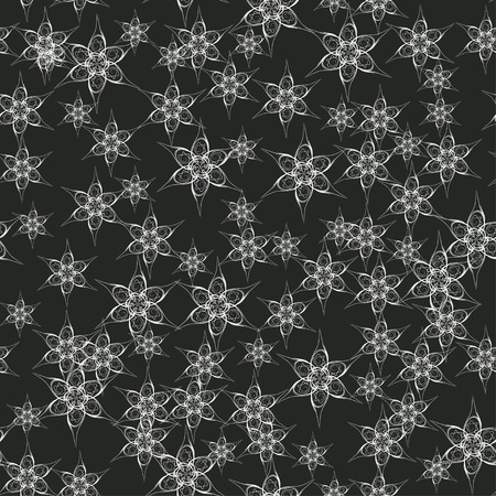 desember: black and white seamless pattern with snowflakes. With clipping mask.