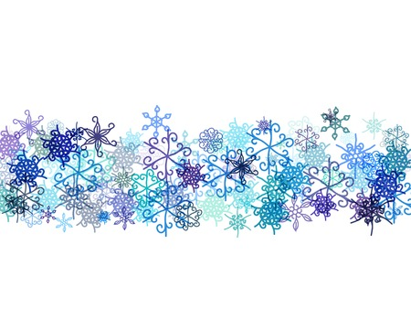 banner with different snowflakes Vector