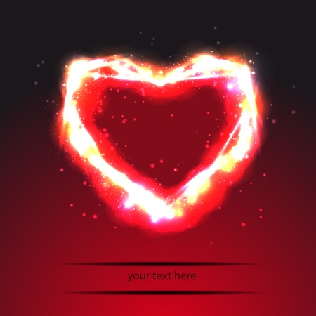 template with a heart  with light effect Vector