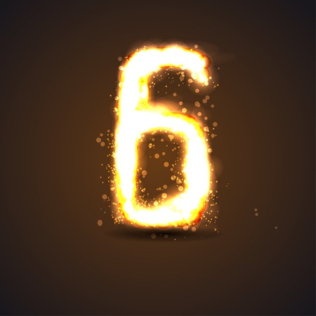 number six with light effect Vector
