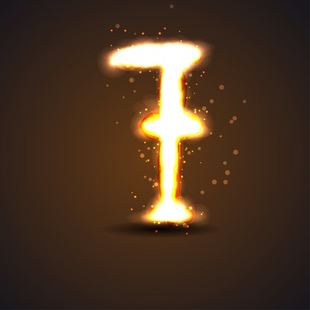 number sevenwith light effect Vector