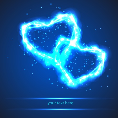 two bright light heart on blue background Vector