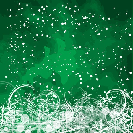basis: basis under the winter holiday green background with different snowflakes Illustration