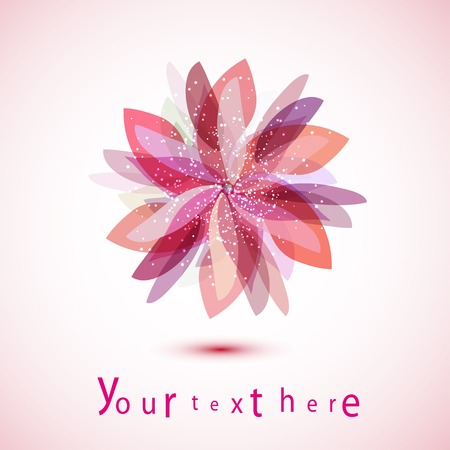felicitation: isolate flower in shades of pink. Sign for your design