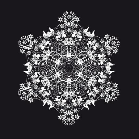 backround: white lace snowflake or flower on black backround Illustration