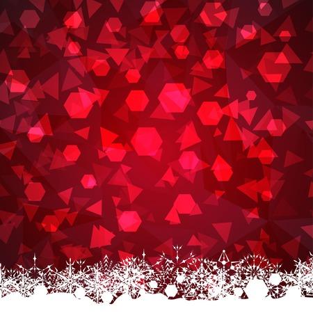 赤い幾何の背景に雪の結晶のフレームワーク
