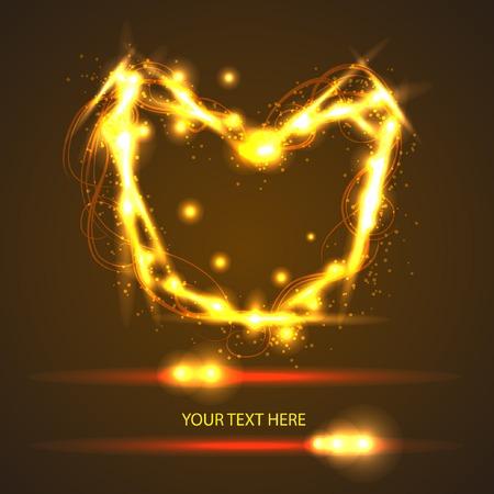 gold light heart for your design Vector