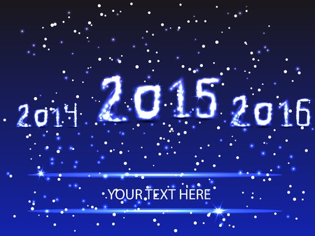 consept: card for christmas or new year. New Year display in shades of blue with geometry background