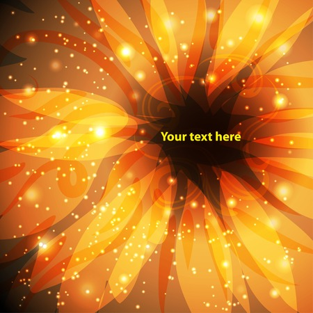 your text here: gold background with fabulous, fantastic flower. Place for your text here