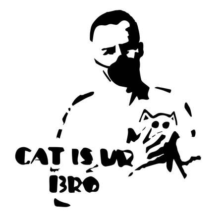 vector drawing of a man in a mask with a cat in his arms, a picture on the topic of the day, a pandemic in the world, faith in humanity, love for pets