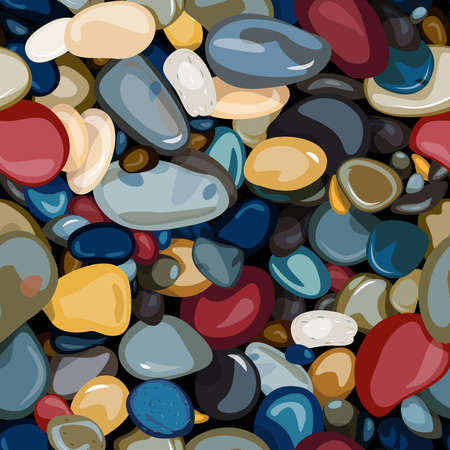 seamless pattern of colored stones, stones with highlights are scattered on a dark background, vector pattern for printing on fabric or paper