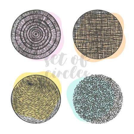 vector set of circles, with different designs and textures, with colorful background