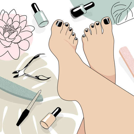 vector image of beautiful female feet after a pedicure with painted nails with black varnish, a pedicure set is scattered about the feet, nippers, nail files and varnishes, lotus flower and leaf