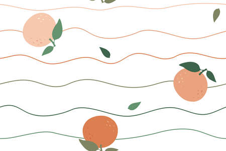 seamless vector background oranges in waves, repeating lines and fruits with leaves, abstract illustration with citruses on white background