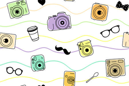 seamless vector pattern of colored trendy cameras, mustache, coffee cup, plastic spoon, glasses and heart, hipster set isolated on white background