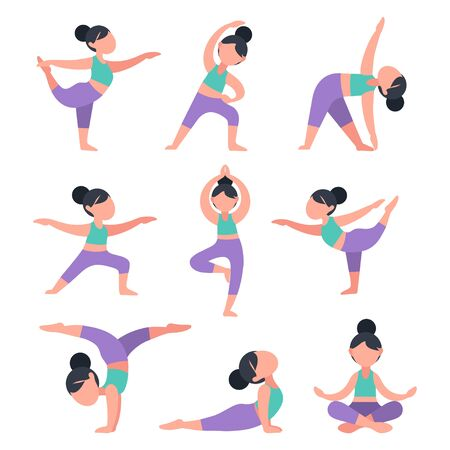 Set of flat girls doing yoga. Bundle of women in different poses for training. Exercises for health, posture, relaxation, meditation, concentration. Morning routine workout, vector illustration.
