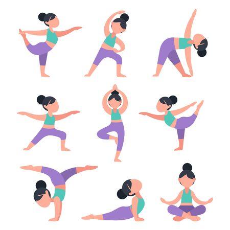 Satz flacher Mädchen, die Yoga tun. Bündel von Frauen in verschiedenen Posen zum Training. Übungen für Gesundheit, Haltung, Entspannung, Meditation, Konzentration. Morgendliches Routinetraining, Vektorillustration.