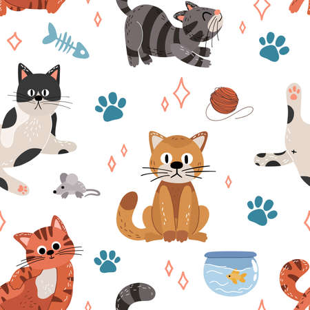 Cute cats flat vector seamless pattern on white background. Texture of cartoon pets in scandinavian hand drawn style. Vector wallpaper for childrens books, print, poster, fabric, stickers.