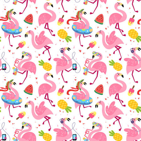 Festive seamless pattern with funny flamingos. Summer tropical vector texture on a white background. Background for a childrens book, print, poster, stickers, fabric, wrapping paper. Illusztráció