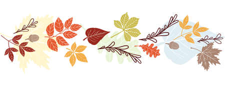 Vector frame of autumn leaves. Decorative element for website design, poster, flyer, print. Natural details, tree components, autumn mood.