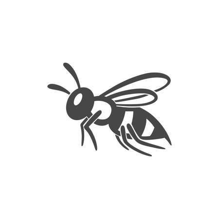 Wasp flat line icon. Black silhouette of an insect Isolated on a white background.