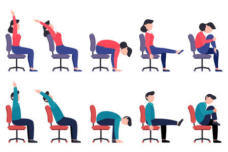 Set of women and men doing office chair exercises. Bundle of workers workout for healthy back, neck, arms, legs. Sport for the wellbeing. Vector illustration isolated on white background.