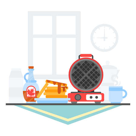 Waffle iron maker. Homemade breakfast: dessert with maple syrup, tea, juice, milk, teapot, cup. Flat illustration. Template with place for text.