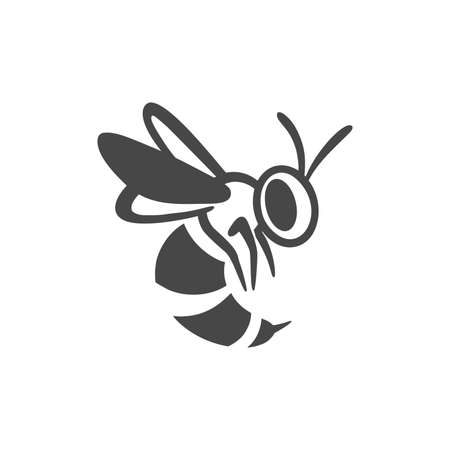 Wasp flat line icon. Black silhouette of an insect Isolated on a white background. Graphic symbol, design template for logo. Vector illustration emblem of a bee, hornet, pest, sting, honey.