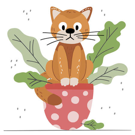 Cute red cat with plant isolated on white background. Scandinavian cartoon animal in flat hand drawn style. Vector pet concept for childrens books, print, poster, fabric, stickers.