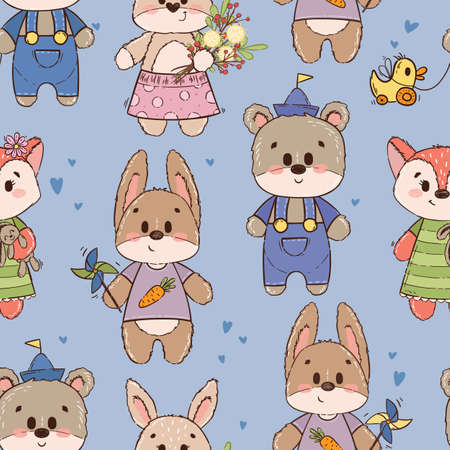 Seamless pattern with cute characters: bear, fox, hare, rabbit or bunny. Texture for boy on blue background. Ornament for a childrens book, cover, textile, cotton, fabric, poster, print.