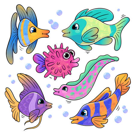 Set of fish in cartoon style isolated on white background. Vector illustration of different types of sea animals. Collection of funny fish for books, print, games.  イラスト・ベクター素材