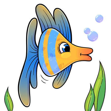 Funny fish in cartoon style isolated on white background. Vector illustration of blue and yellow sea animal. Trendy fish for books, print, games. Ilustración de vector