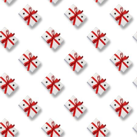 Seamless Christmas pattern with box on white background. Xmas gift. Happy New year. Stock Photo
