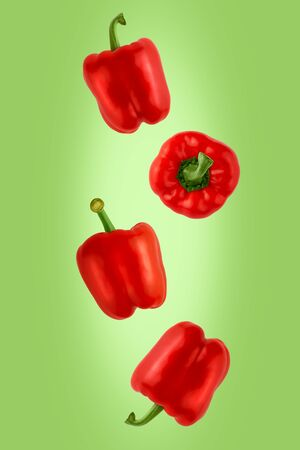 Falling red Bulgarian sweet peppers isolated on green background