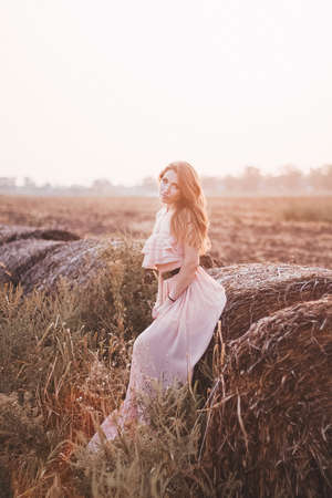 Beautiful romantic model girl outdoors dressed in tender long dress in the field in sunset light. Wind blowing long hair. Glow Sun, Sunshine. Backlit. Toned in warm colors 版權商用圖片
