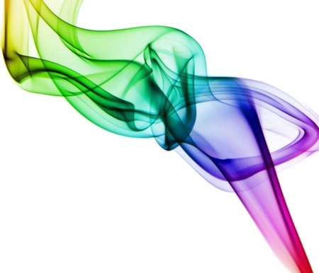 Isolated colored smoke against of white background