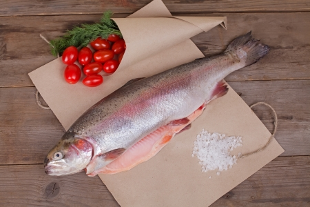 Fresh salmon on the paper with small tomatos Stock Photo - 17446262
