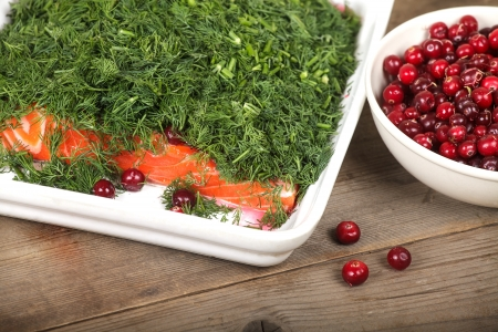 Gravlax and cranberries on the old wooden table Stock Photo