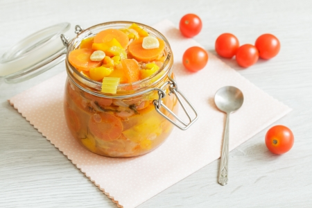 Home-made vegetables ragout in the glass jar