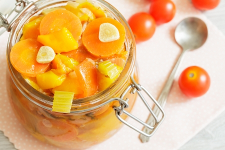 Stewed homemade vegetables in the glass jar