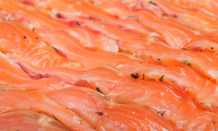 Delicious gravlux - thin slices of the trout