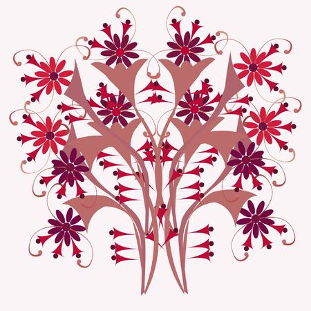 baroque: Texture of flowers (Seamless pattern from flowers.) Ornate ornament Illustration