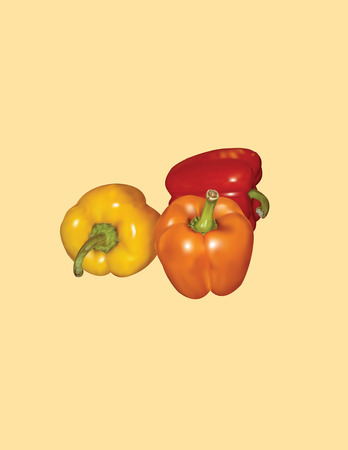 Peppers in a realistic style Ilustração