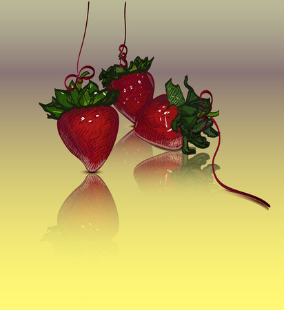 ilustration and painting: Strawberries in a grafic style with reflection Illustration