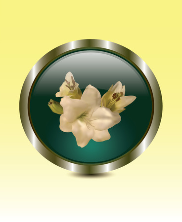 rim: White lilies in bronze rim