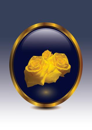gele rozen: Gele rozen in gouden rand. Stock Illustratie