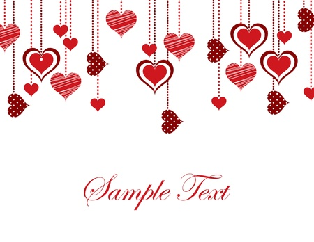 white background: Valentine Background with Hearts.