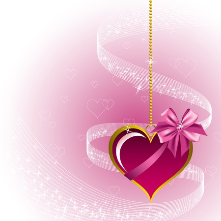 shiny hearts: Valentine Background with Heart. Illustration