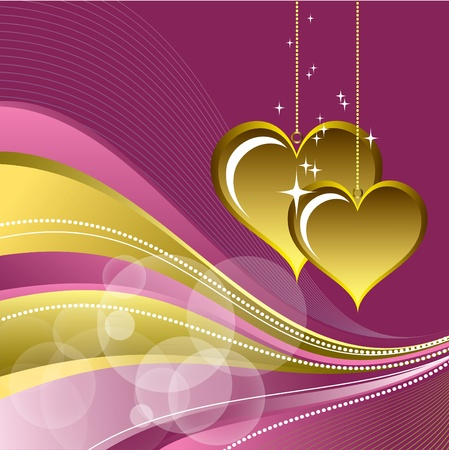 golden heart: Valentine Background with Hearts.
