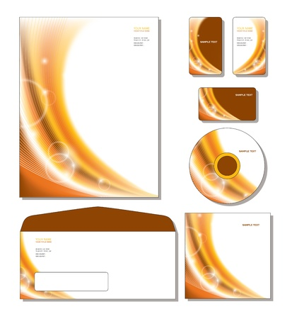 Corporate Template - letterhead, business and gift cards, cd, cd cover, envelope.  Stock Vector - 12103888